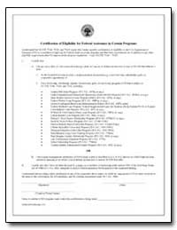Certification of Eligibility for Federal... by Department of Education