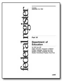 Department of Education 34 Cfr Part 657 ... by Longanecker, David A.