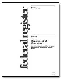 Department of Education List of Correspo... by Richards, Curtis L.