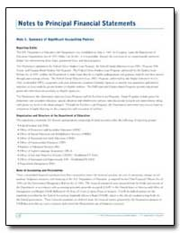 Notes to Principal Financial Statements by Department of Education