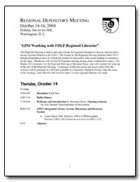 Regional Depository Meeting October 14 -... by Hall, Laurie Beyer