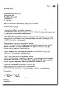 Re: Can-Spam Act Rulemaking, Project No.... by Parks, Bill
