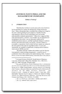 Antitrust, Patent Pools, And the Managem... by Newberg, Joshua A.