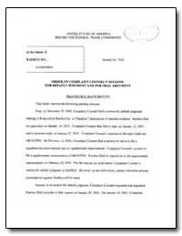 Order on Complaint Counsel's Motions for... by Timony, James P.