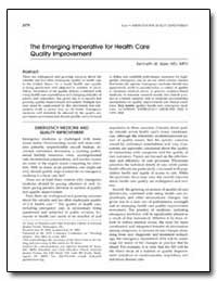 The Emerging Imperative for Health Care ... by Kizer, Kenneth W.