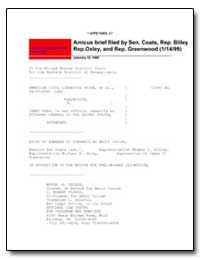 Amicus Brief Filed by Sen. Coats, Rep. B... by West, James J.