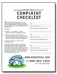 National Do Not Call Registry Complaint ... by