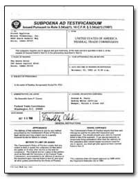 Subpoena Ad Testificandum by Buc, Lawrence G.