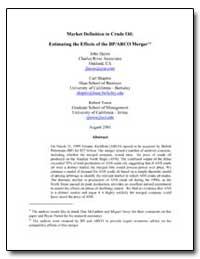Market Definition in Crude Oil: Estimati... by Hayes, John