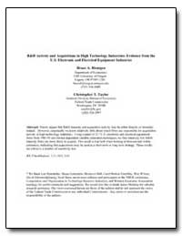 R&D Activity and Acquisitions in High Te... by Blonigen, Bruce A.