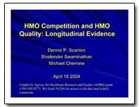 Hmo Competition and Hmo Quality : Longit... by Scanlon, Dennis P.