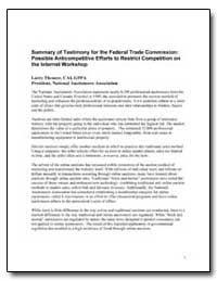 Summary of Testimony for the Federal Tra... by Theurer, Larry