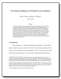 A Critical Analysis of Critical Loss Ana... by Obrien, Daniel P.