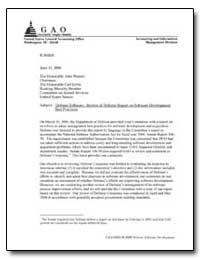 Defense Software : Review of Defense Rep... by Brock, Jack L., Jr.