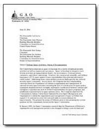 Defense Space Activities : Status of Reo... by Schuster, Carol R.
