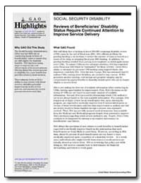 Reviews of Beneficiaries Disability Stat... by General Accounting Office