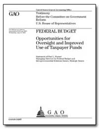 Federal Budget Opportunities for Oversig... by Posner, Paul L.