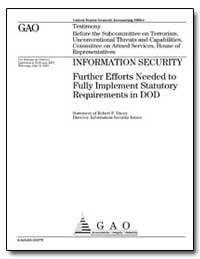 Information Security Further Efforts Nee... by Dacey, Robert F.