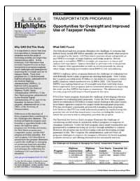 Opportunities for Oversight and Improved... by General Accounting Office