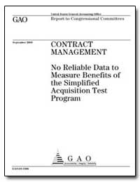 Contract Management No Reliable Data to ... by General Accounting Office