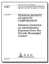 Pension Benefit Guaranty Corporation Sta... by General Accounting Office