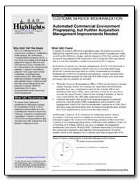 Automated Commercial Environment Progres... by General Accounting Office