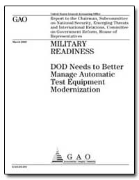 Dod Needs to Better Manage Automatic Tes... by General Accounting Office
