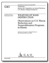 Weapons of Mass Destruction Observations... by Christoff, Joseph A., Director