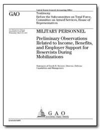 Military Personnel Preliminary Observati... by Stewart, Derek B.