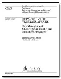 Department of Veterans Affairs Key Manag... by Bascetta, Cynthia A.