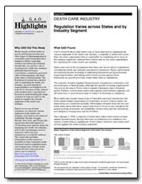 Death Care Industry Regulation Varies Ac... by General Accounting Office