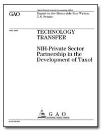 Technology Transfer Nih-Private Sector P... by General Accounting Office