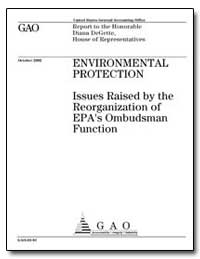 Issues Raised by the Reorganization of E... by General Accounting Office