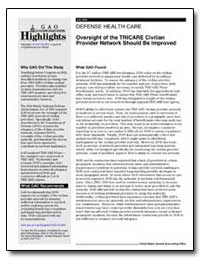 Defense Health Care Oversight of the Tri... by General Accounting Office