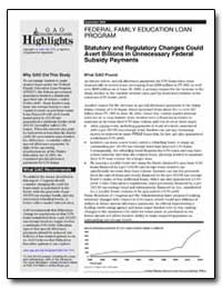 Statutory and Regulatory Changes Could A... by General Accounting Office