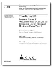 Travel Cards Internal Control Weaknesses... by Kutz, Gregory D.