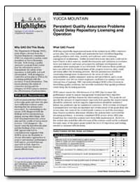 Yucca Mountain Persistent Quality Assura... by General Accounting Office
