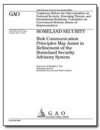 Homeland Security Risk Communication Pri... by Yim, Randall A.