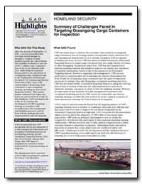 Homeland Security Summary of Challenges ... by General Accounting Office