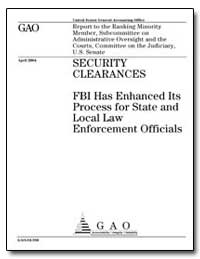 Security Clearances Fbi Has Enhanced Its... by General Accounting Office