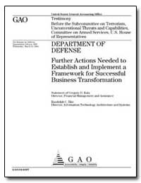 Department of Defense Further Actions Ne... by Kutz, Gregory D.