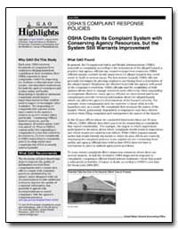 Oshas Complaint Response Policies Osha C... by General Accounting Office