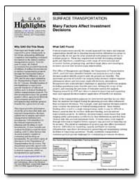 Many Factors Affect Investment Decisions by General Accounting Office