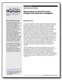 Observations on the Oil for Food Program... by General Accounting Office