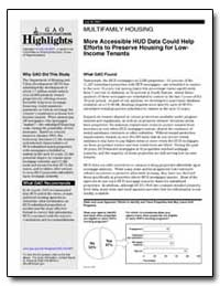 More Accessible Hud Data Could Help Effo... by General Accounting Office