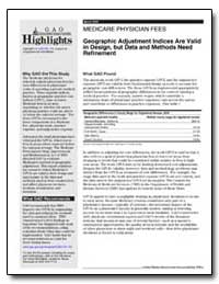 Medicare Physician Fees Geographic Adjus... by General Accounting Office