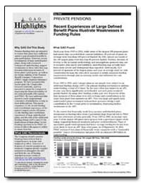 Recent Experiences of Large Defined Bene... by General Accounting Office