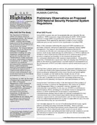 Preliminary Observations on Proposed Dod... by General Accounting Office