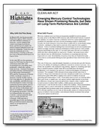 Emerging Mercury Control Technologies Ha... by General Accounting Office