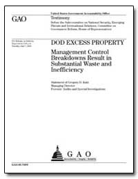 Dod Excess Property Management Control B... by Kutz, Gregory D.